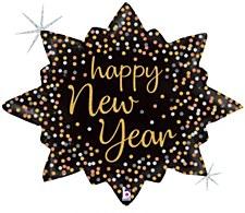 New Year Confetti Brust Foil Balloon