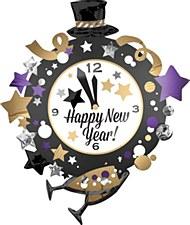 35in New Year Clock Foil Balloon