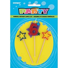 6 Numeral Star Birthday Candle