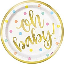 """9""""""""Oh Baby""""Gold Baby Shower Plates"""