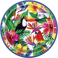 Palm Tropical Luau Round Plates
