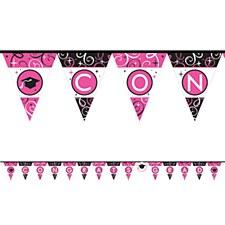 Pennant Banner Pink&Black 12.5ft L