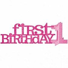 Pink Glitter First Birthday Centerpiece