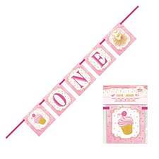"""""""ONE"""" Banner Pink & Gold"""