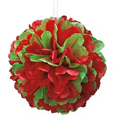 14in Red & Green Puff Ball
