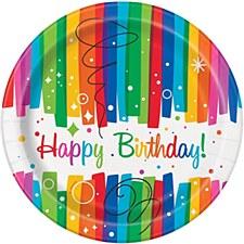 "Rainbow Ribbons Birthday 7"" Plates"