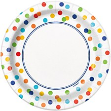 Rainbow Polka Dot 7IN Plate