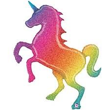"""54"""" Glitter Rainbow Unicorn"""