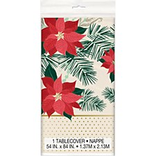 Red & Gold poinsettia Tablecover