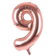 34' #9 Rose Gold Mylar Balloon