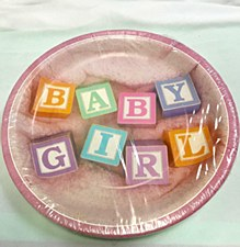 Baby Girl 12ct Plates 9in
