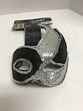 Black and Silver Sequin Swish Mask