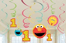 Sesame Street 1st Birthday Hanging Plastic Swirl Decoration