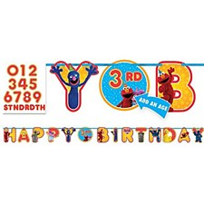 Personalized Happy Birthday Banner Seasame Street 1st Birthday 10ft Long