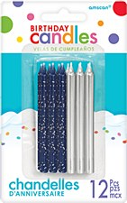 Silver & Blue Glitter Candles