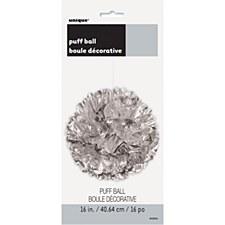 16in Foil Silver Puff Ball