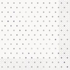 Elegant Silver Dots Lunch Napkin