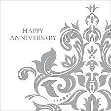 Silver Happy Anniversary Lunch Napkins