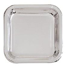 Silver Foil 9in Square Plate