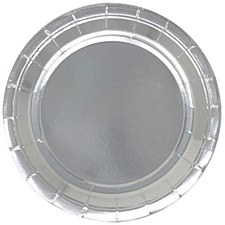 9in Foil Silver Round Paper Plate