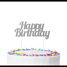 Silver Happy Birthday Cake Topper