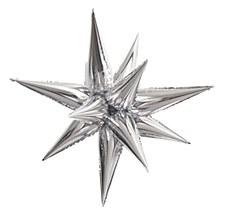 "Silver 40"" Star Burst Balloon"