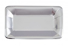 Long Silver Foil Rectangle Appetizer Plate