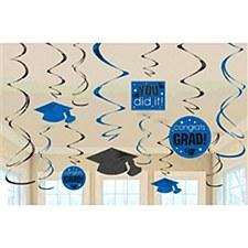 Graduation Swirl Blue Danglers
