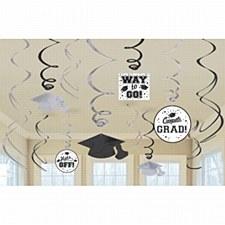 White Graduation Swirl Decorations