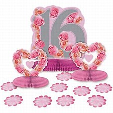 16th Pink Roses Table Decorating Kit