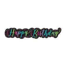 Neon Scrip Birthday Banner