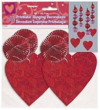 4 Prismatic Heart Hanging Decorations