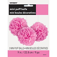 3 Hot Pink Mini Puff Balls