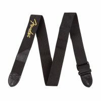 Fender Black Polyester Strap With Yellow Fender Logo