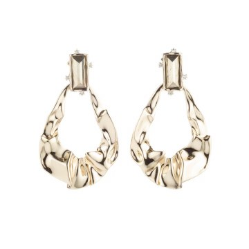 Alexis Bittar Crumpled Gold Dangle Post Earring