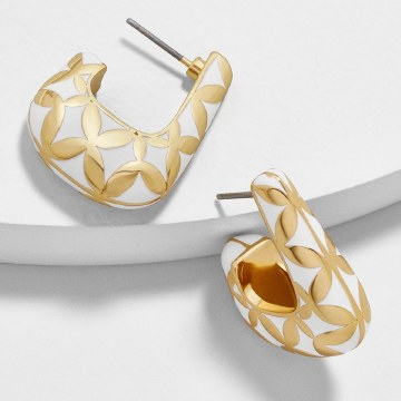 BaubleBar Varinia Hoops White and Gold