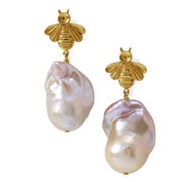 Chan Luu Pink Pearl Bee Earrings