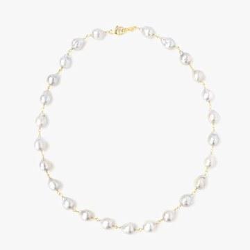 Chan Luu Grey Baroque Pearl Short Necklace