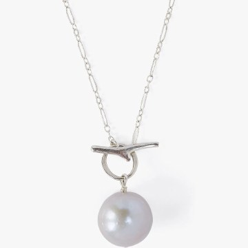 Chan Luu Grey Freshwater Pearl Toggle Necklace