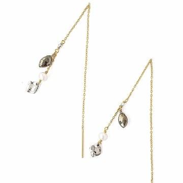 Chan Luu Pyrite and White Pearl Thread Thru Earrings
