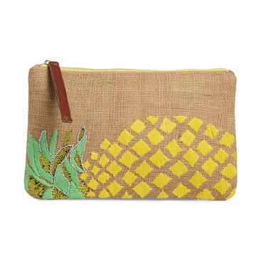Sondra Roberts Embellished Jute Pineapple Clutch