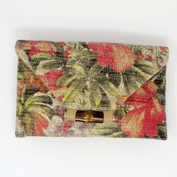 Sondra Roberts Floral Raffia Clutch
