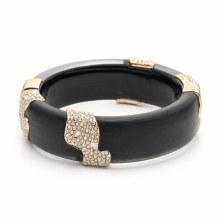 Alexis Bittar Crystal Encrusted Sectioned Hinge Bracelet Black