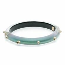 Alexis Bittar Golden Stud Hing Bracelet Clear Green