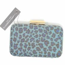 Sondra Roberts Leopard Blue Clutch