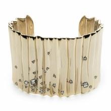 Alexis Bittar Gold Crystal Studded Pleated Cuff Bracelet