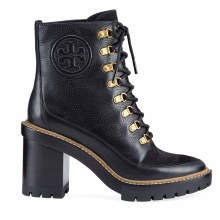 Tory Burch Miller Mixed Leather Lug-Sole Booties