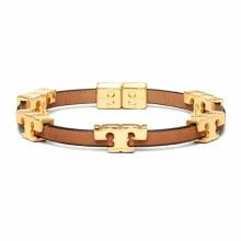 Tory Burch Serif-T Stackable Bracelet Gold/Coconut/Vachetta