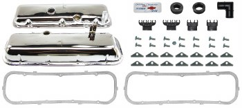 1967 Camaro BB Chrome Valve Cover Kit w/Drippers 396-375  Yenko  USA