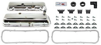 1969-74 Camaro BB Chrome Valve Cover Kit w/Drippers  396-375 Yenko USA